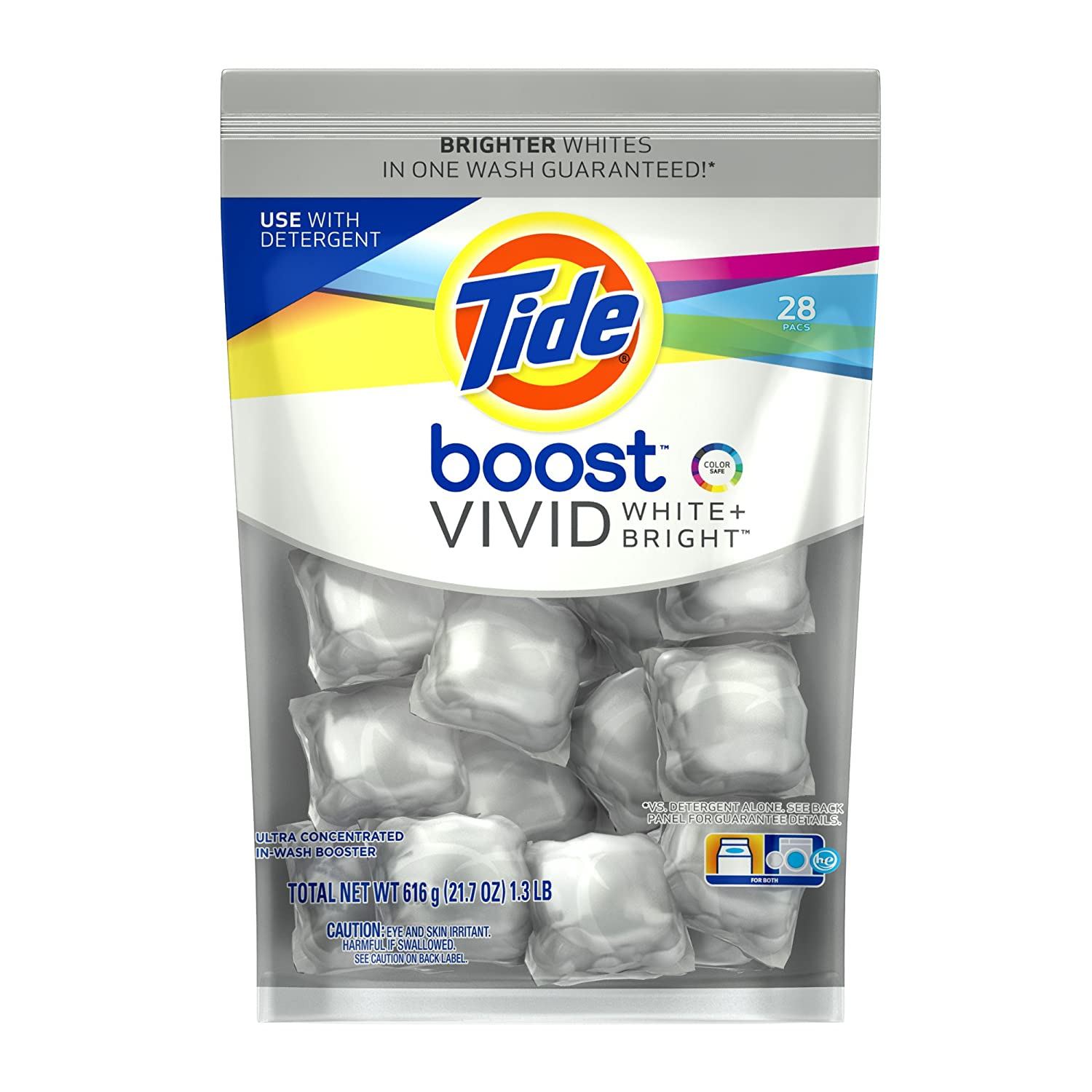 Tide In-Wash Boosters: 28-count Boost Vivid White + Bright HE In-Wash Booster $5.54