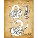 Padlock - 11x14 Unframed Patent Print - Great Gift for Locksmiths or Police Officers (Color: Brown, Tamaño: Medium)