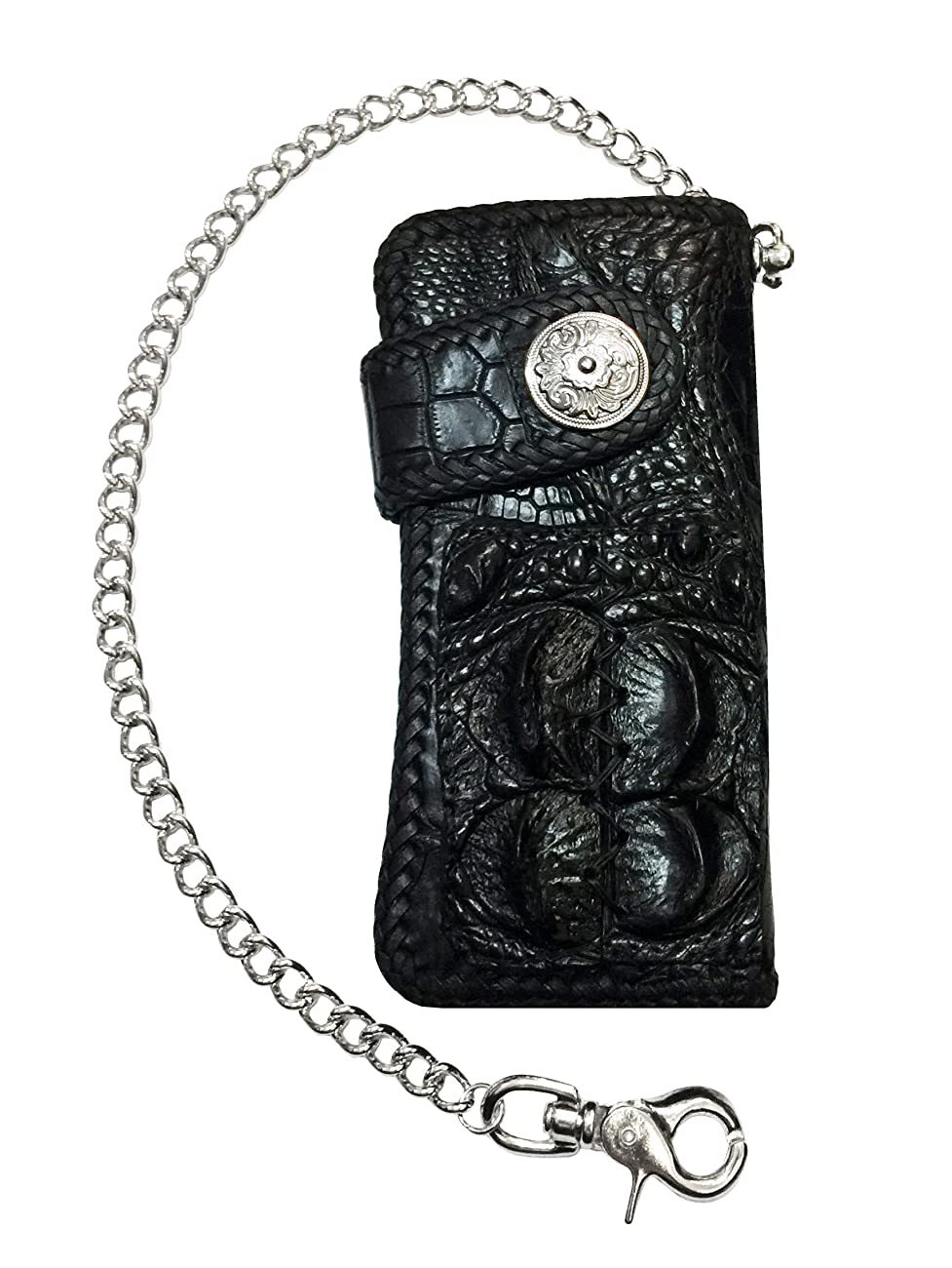 D'SHARK Luxury Biker Crocodile Skin Leather Bi-fold Snap Wallet (Black) 0