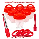 Simple Life by presents 10 PCS SET + EXTRA!!! 6 cookers & 4 rings + 1 brush + 1 Tong. Egglettes, Hard boiled eggs without shell, egg cooker, Silicone egg boil, Omelet, Pancakes, Burger Mold (Color: Red)