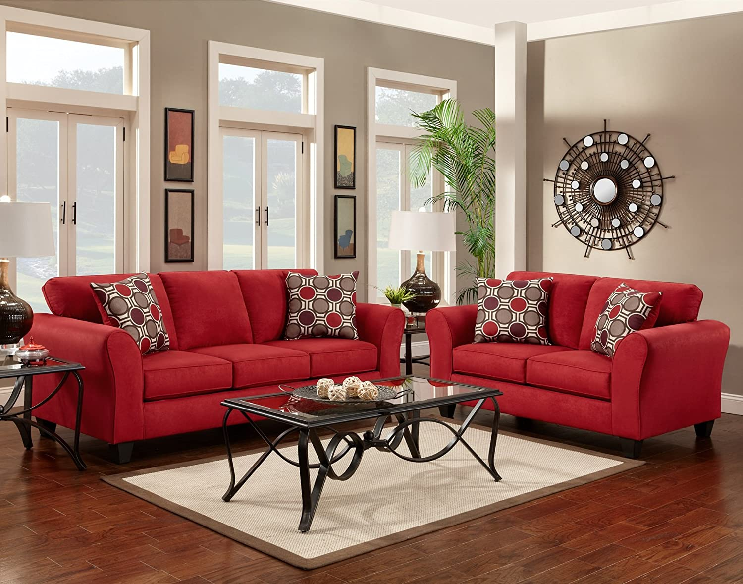 Roundhill Furniture Microfiber Loveseat with 2 Pillows - Patriot Red