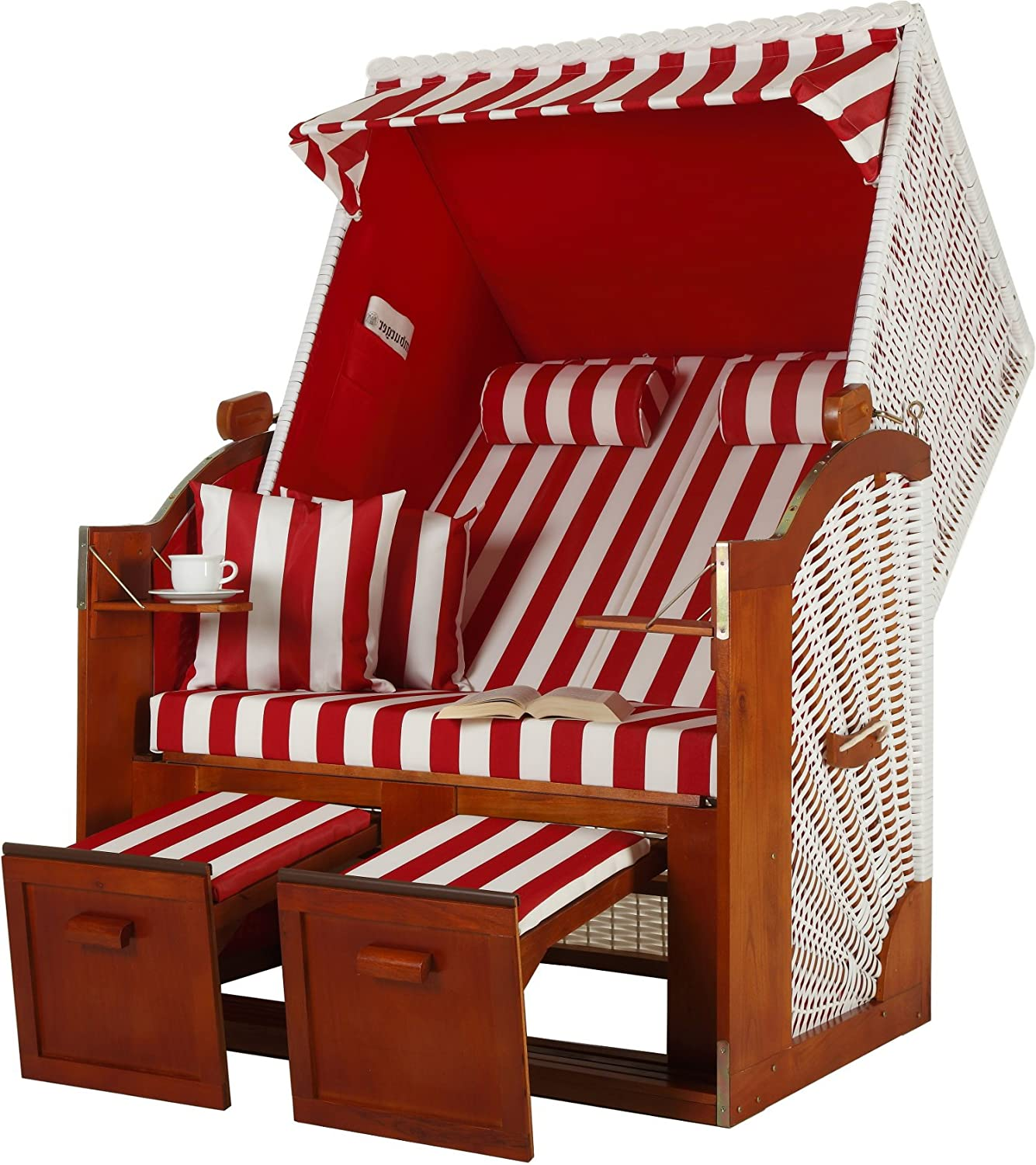 zweisitzer ostsee strandkorb modell rot gestreift. Black Bedroom Furniture Sets. Home Design Ideas