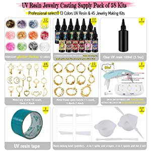 Funshowcase 13 Color UV Resin Translucent Hard Type with Jewelry Casting Supply Pack of 58 Kits (Tamaño: UV resin supply 58 kits)
