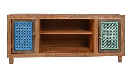 ts-ideen TV-Bank Lowboard Sideboard Kommode HiFi-Schrank Regal Flur Diele Wohnzimmer Vintage Antik Shabby Design Used Style massiv Holz Braun zwei Turen mit buntem Muster