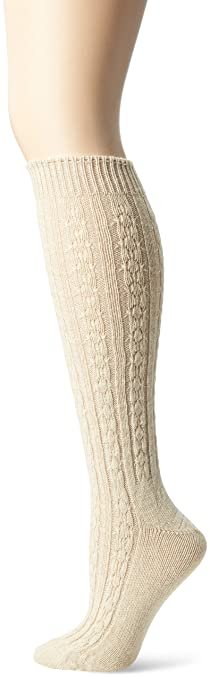 Wigwam Women's Cable Knee High Casual Socks, Oatmeal, Medium