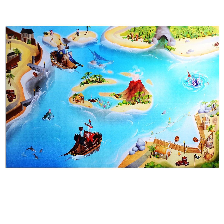 Waschbarer Kinderspielteppich in 3 Größen | phtalat-frei | Motiv Pirateninsel | 80 x 120 cm günstig bestellen