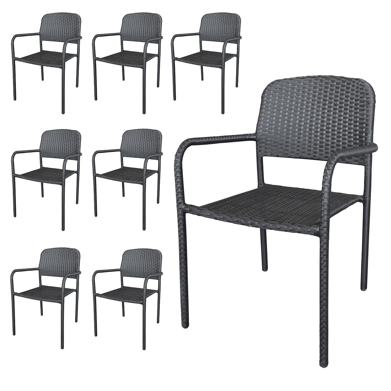 8 Stück Stapelstuhl Rattanstuhl Gartenstuhl stapelbarer Rattansessel Polyrattanbespannung in Schwarz – Gartenmöbel Gartensitzmöbel jetzt bestellen