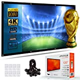 Portable Projector Screen 120 Inch - Home Theater, TV, Movie, Gaming and Presentation for Indoor and Outdoor Projector Screen. 4K and HD Video Ready. 8 Pack Bungee Balls GIFT - By UPHOCUS