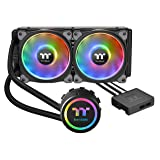Thermaltake Floe DX 240 Dual Riing Duo 16.8 Million Colors RGB 36 LED LGA2066 AM4 Ready Intel/AMD Liquid Cooling All-in-One CPU Cooler CL-W255-PL12SW-B (Tamaño: 240mm)