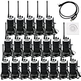 Retevis RT7 Walkie Talkies Rechargeable UHF Radio 3W VOX FM 16CH Two Way Radios with Headsets(20 Pack) with Programming Cable (Color: Black)
