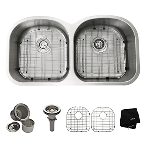 Kraus KBU28 39 inch Undermount 50/50 Double Bowl 16 gauge Stainless Steel Kitchen Sink
