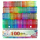 Glitter Gel Pen by Aen Art, Set of 100 Unique Colors Glitter Pens with Grip for Adult Coloring Books Bullet Journal Crafting Doodling Drawing - Perfect Gift Idea