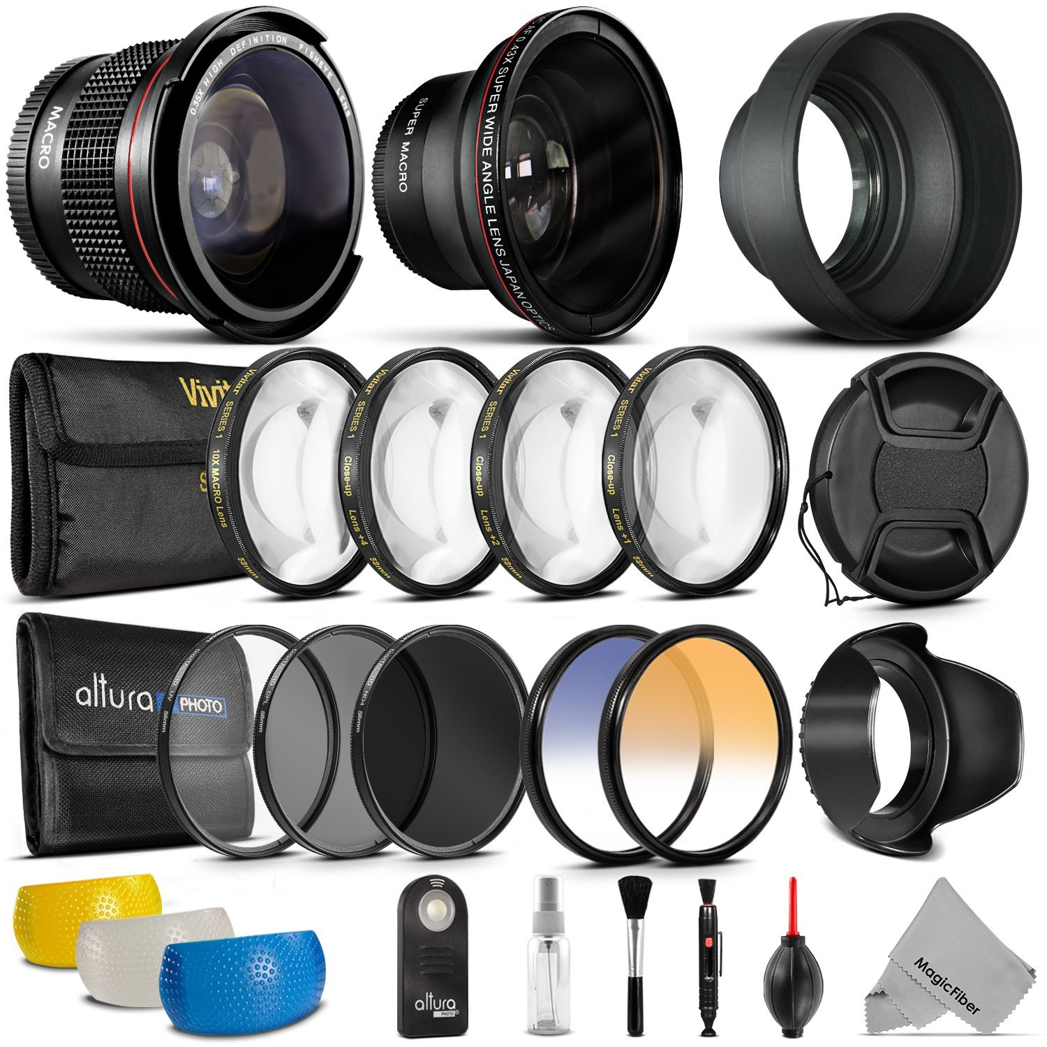 58mm Professional Accessory Kit for Canon EOS Rebel DSLR Bundle