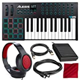 Alesis VI25 25-Key USB/MIDI Keyboard Controller with Sustain Pedal, Closed-Back Headphones, and Deluxe Accessory Bundle