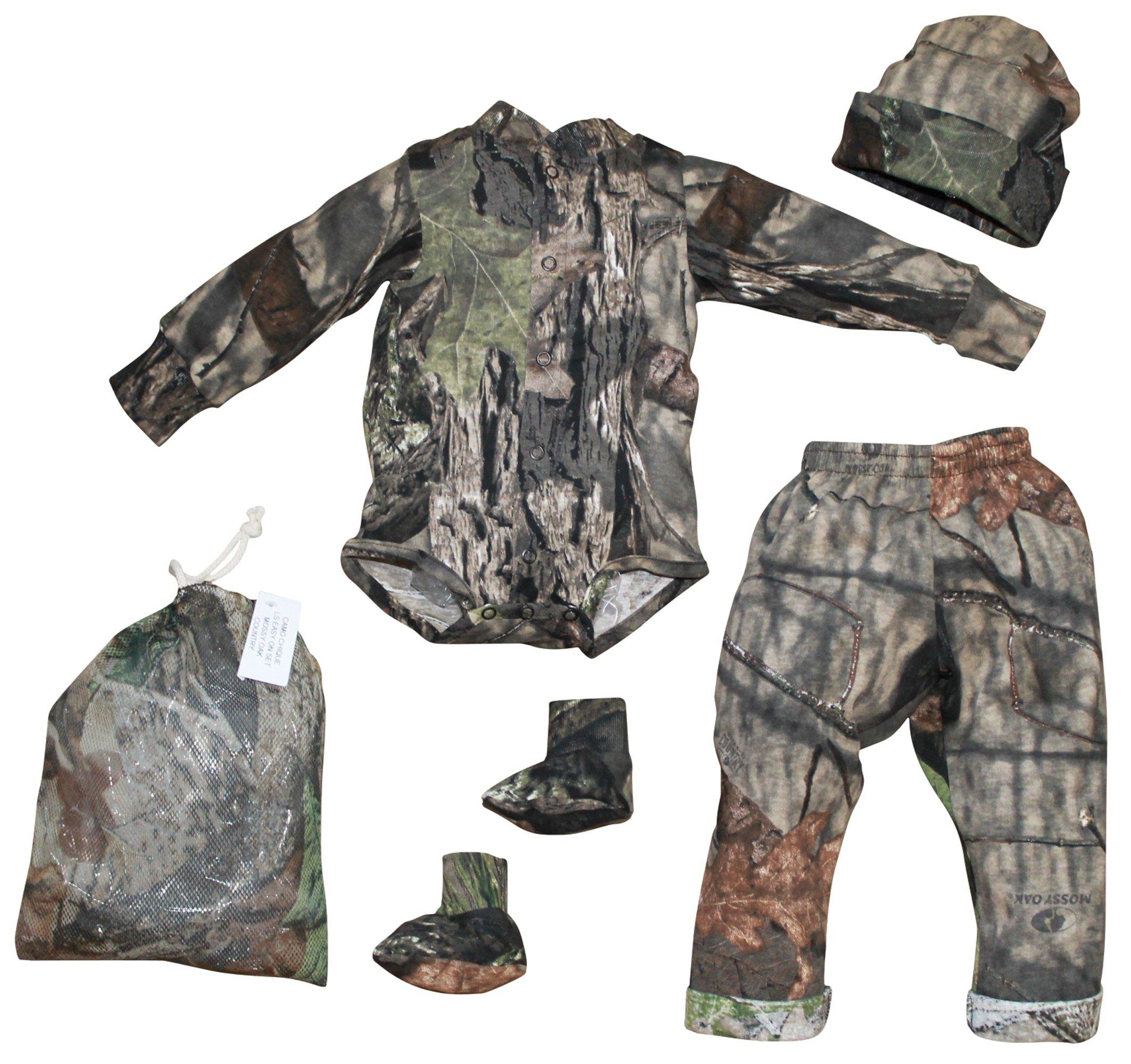 Mossy Oak Baby Boys Camo Outfit 4PC Shirt Pant Cap Booties Set 0 3