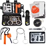 EMDMAK Survival Kit Outdoor Emergency Gear Kit for Camping Hiking Travelling or Adventures (New Black) (Color: New Black)