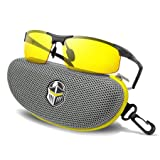 BLUPOND Night Driving Glasses - Anti-glare HD Vision - Yellow Tint Polarized Lens - Safety Sunglasses for Men and Women Plus Car Clip Holder (Titanium, Yellow) (Color: Titanium, Tamaño: Large)