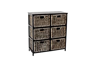 Loxley Black Wood Tall Storage Unit with 6 Black Wash Basket Drawers       Customer reviews and more information