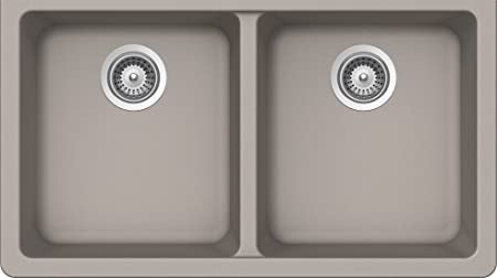 SCHOCK ALIN200YU042 ALIVE Series CRISTALITE 50/50 Undermount Double Bowl Kitchen Sink, Concrete