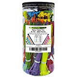 Electriduct Nylon Cable Tie Kit - 2000 Zip Ties - Multi Color (Blue, Red, Green, Yellow, Fuchsia, Orange, Gray, Purple) - Assorted Lengths 4