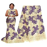 pqdaysun 5 Yards African Net Lace Fabrics Nigerian French Fabric Embroidery and Rhinestones Guipure Cord Lace (cream) (Color: Cream, Tamaño: 51 Inches)