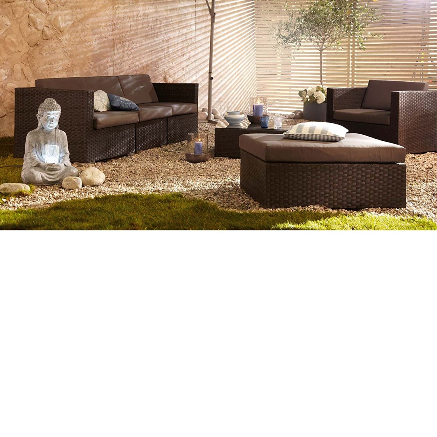 gartenm bel set aus kunstrattan mit auflagen 6 teilig braun g nstig kaufen. Black Bedroom Furniture Sets. Home Design Ideas