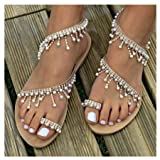 Clearance! Womens Summer Bohemia Flat Sandals Beads Pearl Beach Clip Toe Flip Flops Flat Bottom Sandals Shoes (40, Brown)