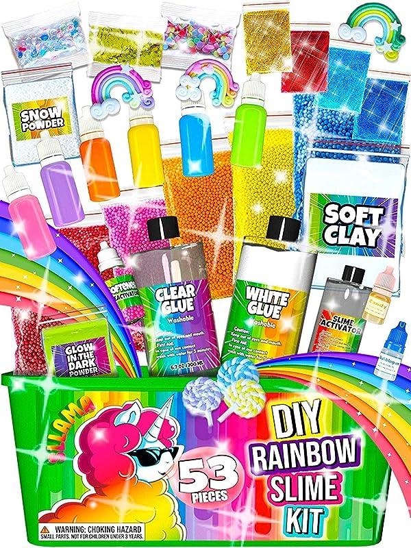 Laevo Slime Kit for Girls and Boys - Slime DIY Supplies Slime Kits - Slime Making Kit Cloud Slime Kit for Boys - DIY Slime Kit with Instant Snow, Clear Glue, Foam Balls, Slime Glue (Color: Rainbow Slime Kit, Tamaño: 53 pieces Rainbow Slime Kit)