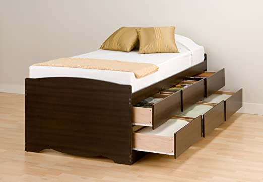Prepac Espresso Tall Twin/Mates Platform Storage Bed (6-drawers)
