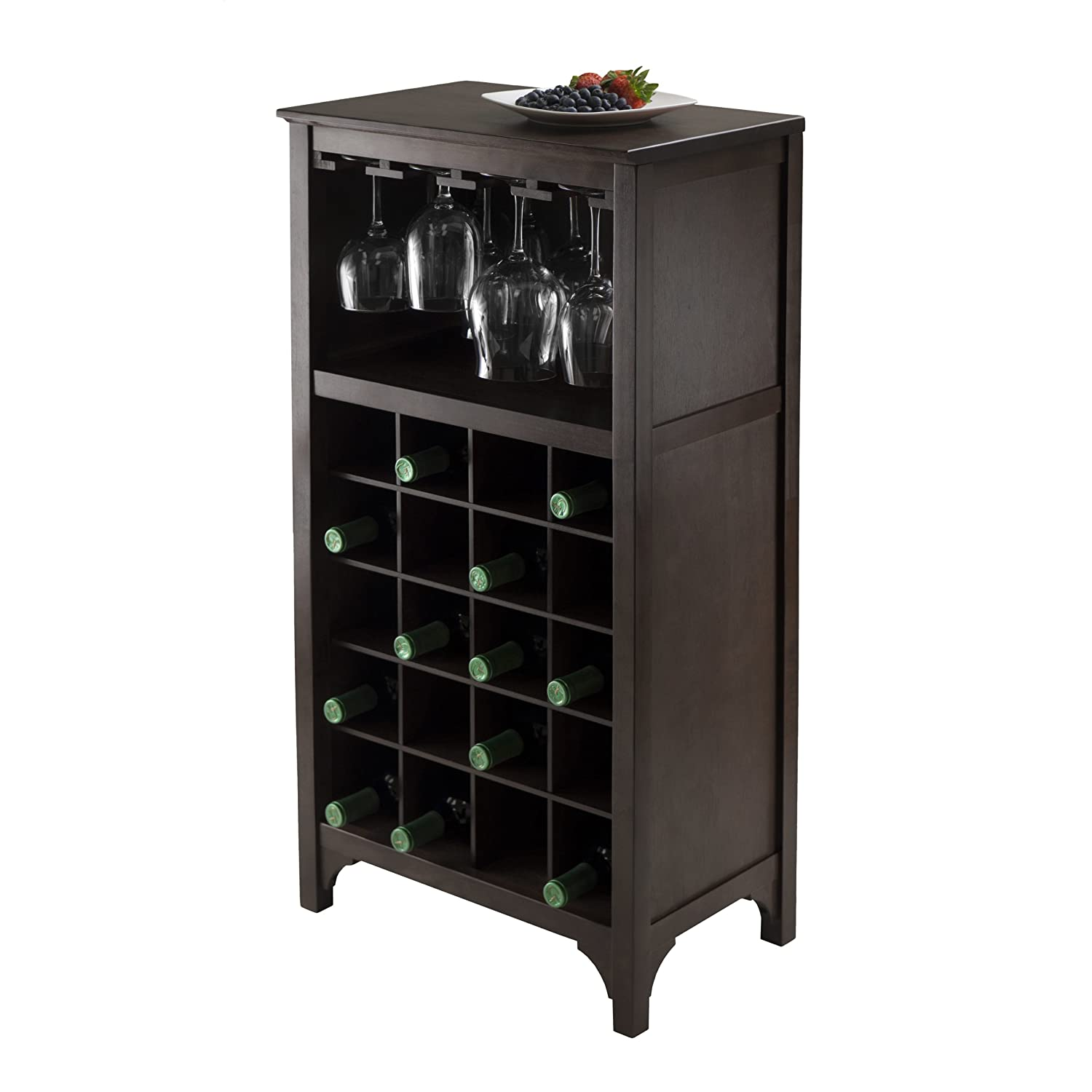 Wine Storage Cabinet Dark Wood Bar 12 Glass 20 Bottles Rack