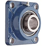 SKF FY 1.1/4 TF Ball Bearing Flange Unit, 4 Bolts, Setscrew Locking, Regreasable, Contact and Flinger Seal, Cast Iron, Inch, 1-1/4