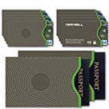 Tenn Well RFID Blocking Sleeve Set Offer Secure Protection On ID Card And Credit Card (10 Credit Card Sleeves & 2 Passport Sleeves) (Color: Gray, Tamaño: 10PCS Credit Card Sleeves+2PCS Passport Sleeves)