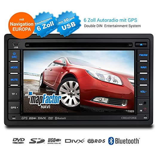 2 Din autoradio avec navigation, Bluetooth, lecteur DVD et USB / SD-fonction CREATONE SL-8173D26