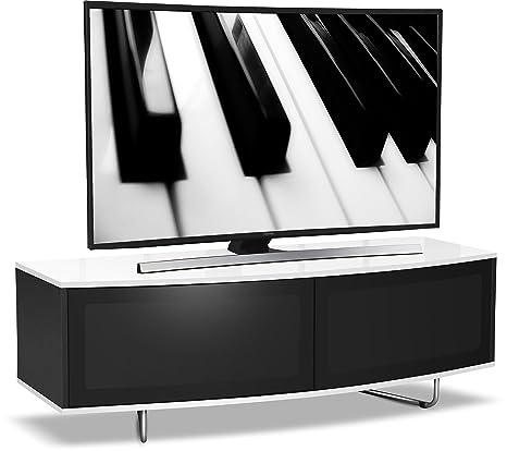 Centurion Supports Caru TV-Schrank, fur 32 bis 65 Zoll (81 bis 165 cm) Geräte, D-Form, Glanzfinish, Schwarz/Weiß