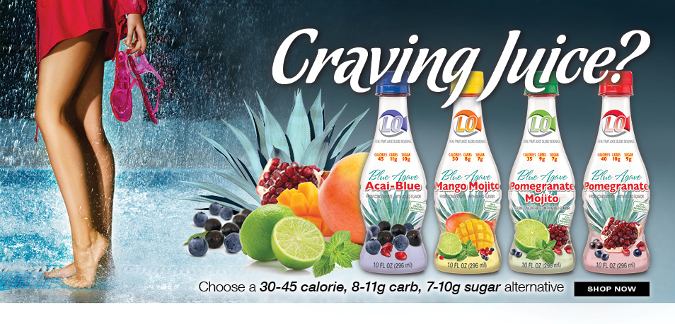 Craving Juice? Choose a low carb, low sugar, low calorie alternative. Lo, Low Glycemic Real Fruit Beverage