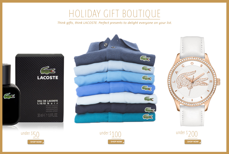 Shop Lacoste Holiday Gift Boutique
