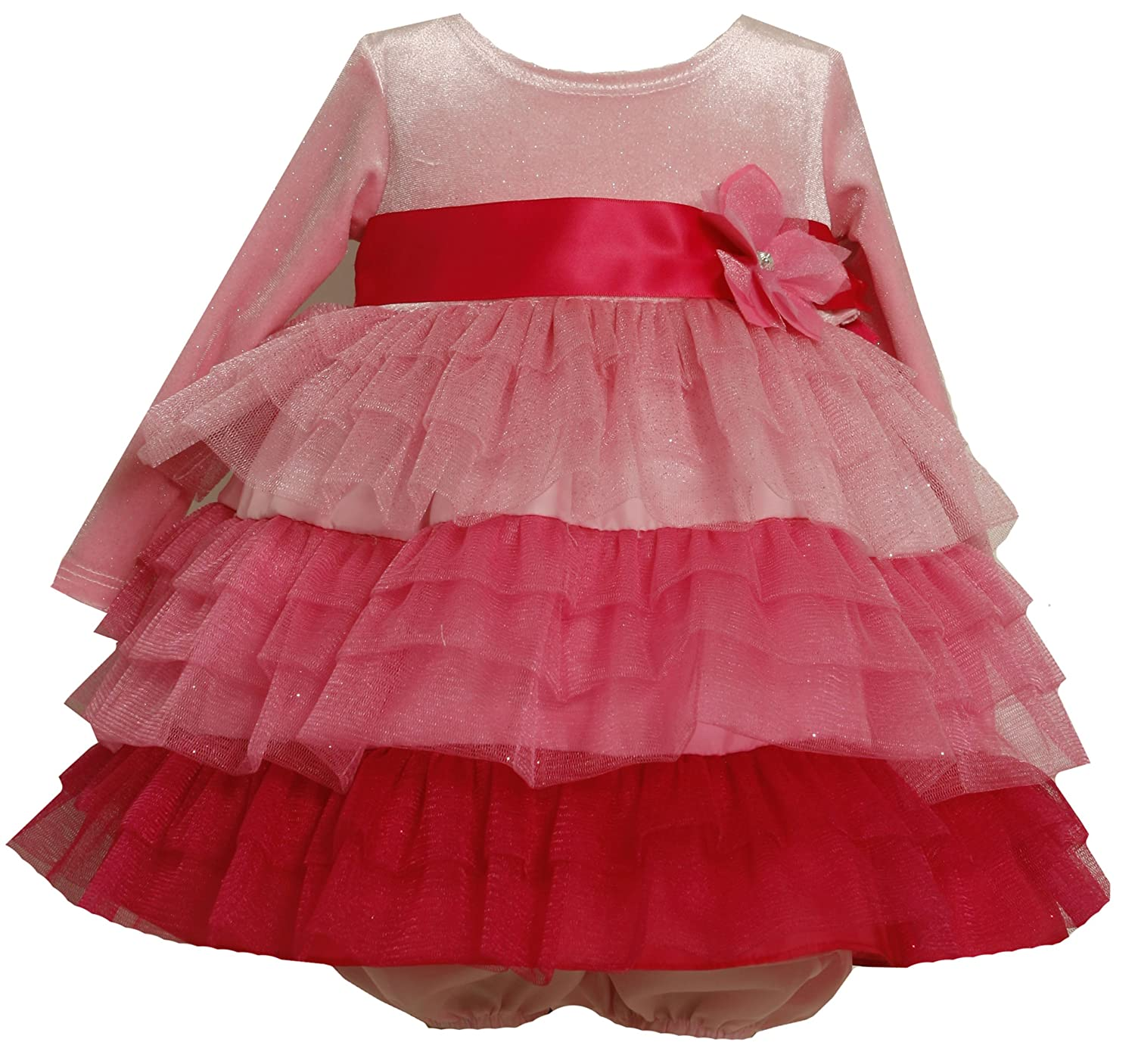 Bonnie Baby-girls Infant Shades Of Pink Tiered Dress