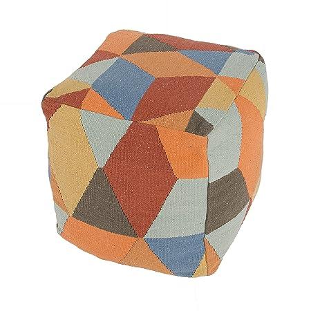 Jaipur Geometric Pattern Multi/Red Cotton Pouf, 16-Inch x 16-Inch x 16-Inch, Tangerine Encasa15