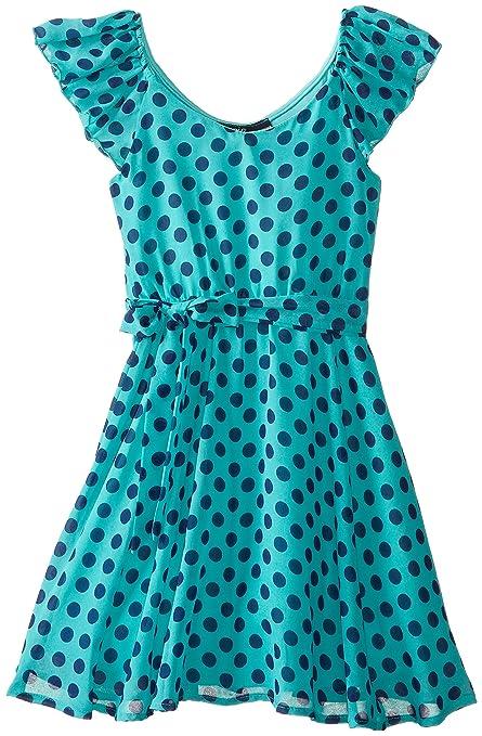 ZUNIE-Big-Girls-Chiffon-Ruffle-Neck-Dot-Dress