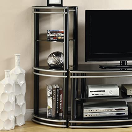 Coaster Home Furnishings Contemporary Media Tower, Black, Set of 2