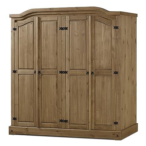 Birlea Corona 4-Door Wardrobe - Waxed Pine