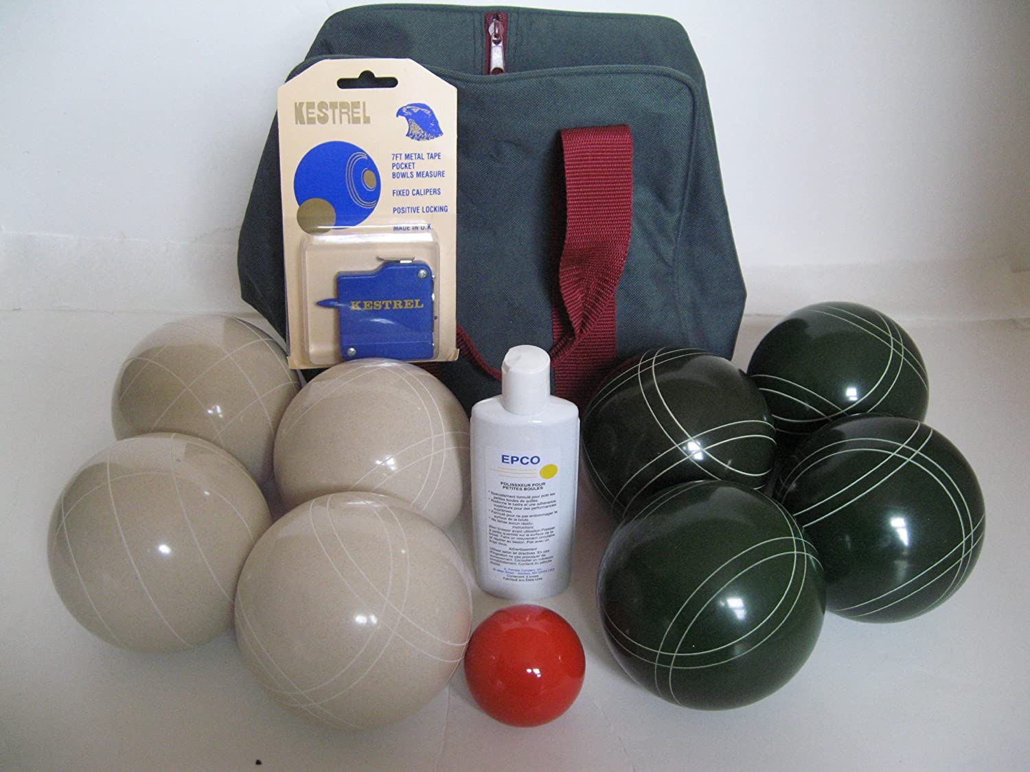 Premium Quality Basic EPCO Bocce package - 107mm White and Green balls, quali...