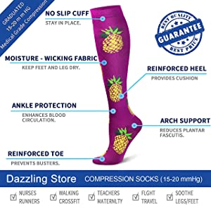 Compression Socks 15-20 mmHg is Best Athletic & Medical for Men & Women Running Flight Travel Nurses Pregnant (04 Purple/Blue/Black, Large/X-Large (US Women 8-15.5/US Men 8-14)) (Color: 04 Purple/Blue/Black, Tamaño: Large/X-Large (US Women 8-15.5/US Men 8-14))
