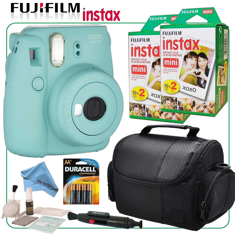 Fuji Instax Mini 8+ Instant Film Camera (Mint) with Selfie Mirror & eDigitalUSA Instax Bundle