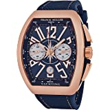 Franck Muller Vanguard Yachting Mens Rose Gold Automatic Chronograph Watch - Tonneau Analog Blue Face with Luminous Hands and Sapphire Crystal - Blue Rubber Band Swiss Made Automatic Watch for Men