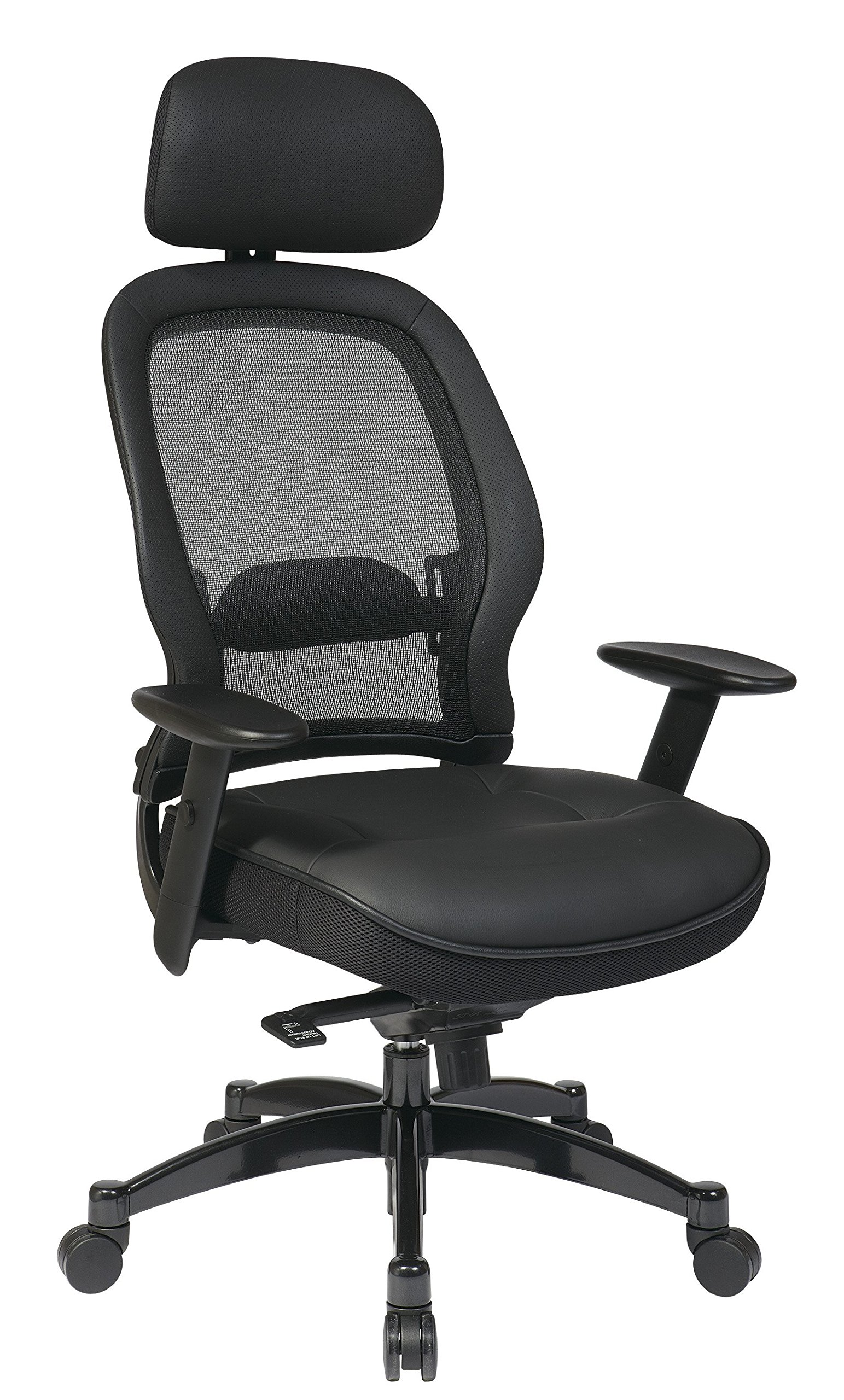 Headrest Leather Mesh Chair