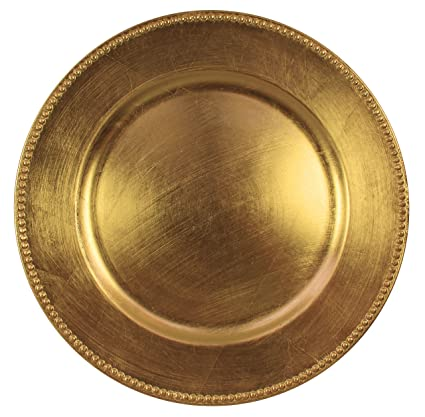 Gold Beaded Round Charger Plates Set of 4 Charge it by Jay