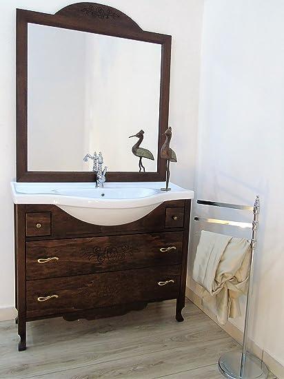 Arredo bagno con cassetti con ricamo fiore arte povera mobile bagno con lavabo