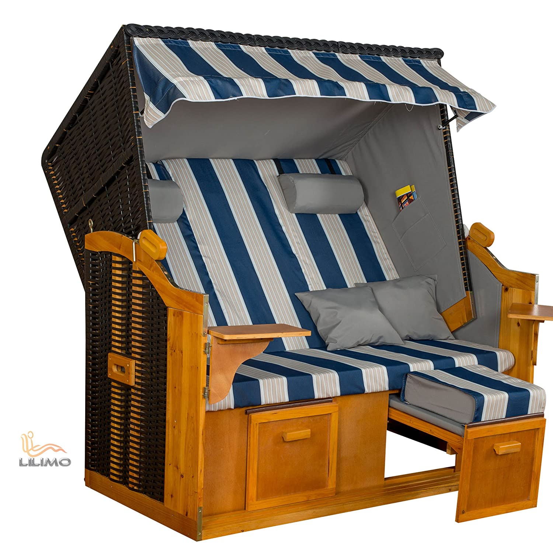 Strandkorb BALTIC BLW XXL, anthrazit, blau-weiß-grau gestreifter Bezug, fertig montiert, von LILIMO kaufen