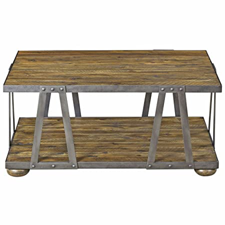 Ida Rustic Lodge Acacia Wood Metal Coffee Table